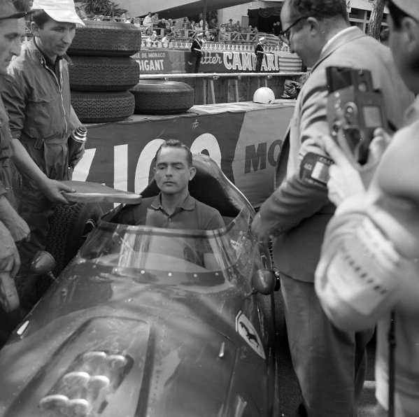Phil Hill, Ferrari 246, in the pits.