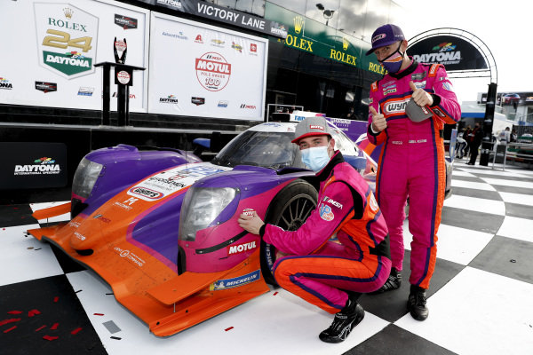 #52 PR1 Mathiasen Motorsports ORECA LMP2 07, LMP2: Mikkel Jensen, Ben Keating, victory lane, pole award