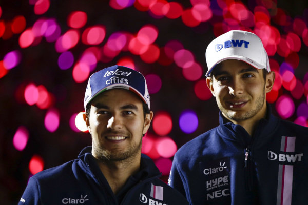 Sergio Perez, Racing Point Force India, and Esteban Ocon, Racing Point Force India