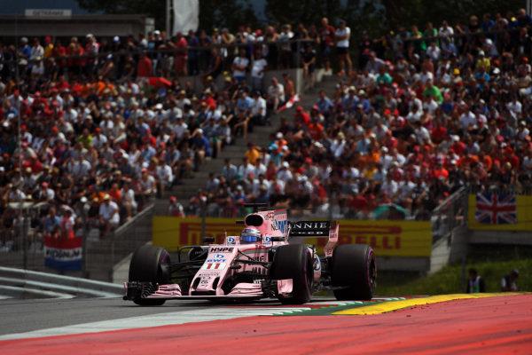 Sergio Perez (MEX) Force India VJM10 at Formula One World Championship, Rd9, Austrian Grand Prix, Race, Spielberg, Austria, Sunday 9 July 2017.