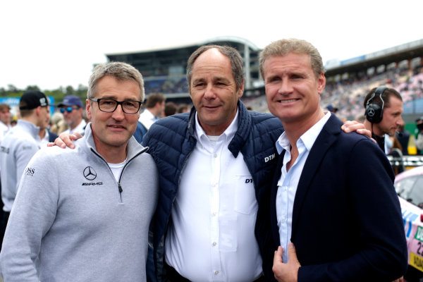 2017 DTM Round 1 Hockenheim, Germany. Saturday 6 May 2017. Bernd Schneider, Gerhard Berger, ITR Chairman, David Coulthard World Copyright: Alexander Trienitz/LAT Images ref: Digital Image 2017-DTM-R1-HH-AT2-0598