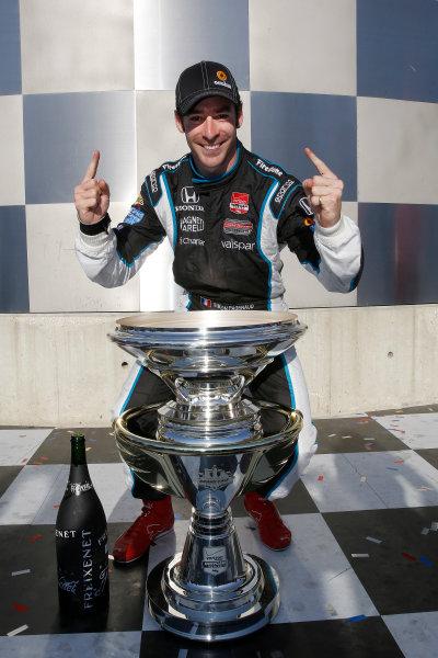 8-10 May, 2014, Indianapolis, Indiana, USA Winner Simon Pagenaud with trophy ©2014, Michael L. Levitt LAT Photo USA