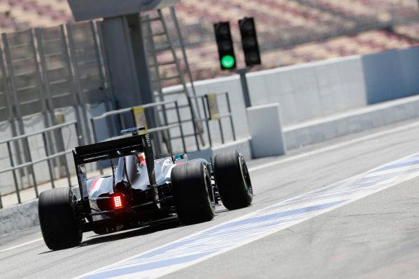 Circuit de Catalunya, Barcelona, Spain. Wednesday 14 May 2014. Esteban Gutierrez, Sauber C33 Ferrari, leaves the pitlane. World Copyright: Sam Bloxham/LAT Photographic. ref: Digital Image _SBL0344