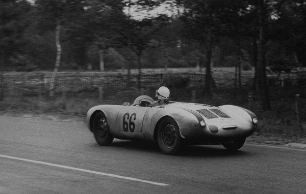 Le Mans, France. 11 - 12 June 1955.Olivier Gendebien/Wolfgang Seidel (Porsche 550 RS Spyder), 5th position, action. World Copyright: LAT Photographic.Ref:  B/W Print.