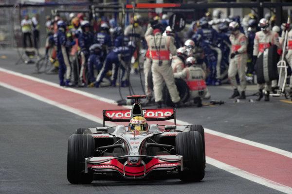 Lewis Hamilton, McLaren MP4-23 Mercedes leaves his box after a pit stop.
