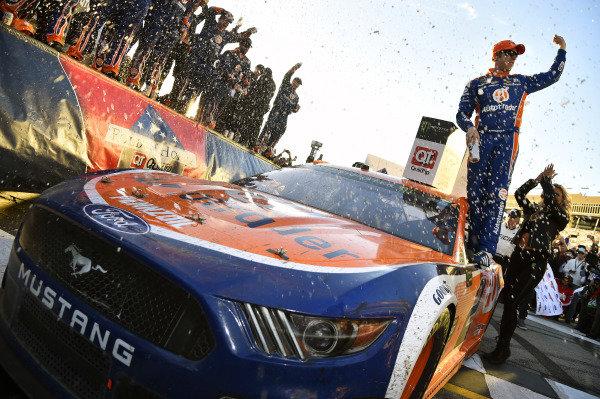 #2: Brad Keselowski, Team Penske, Ford Mustang celebrates his win