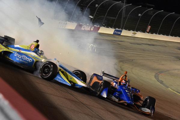 Sage Karam, Carlin Chevrolet crashes with Felix Rosenqvist, Chip Ganassi Racing Honda