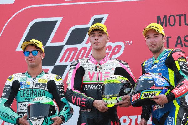 Podium: race winner Tony Arbolino, Team O, second place Lorenzo Dalla Porta, Leopard Racing, third place Jakub Kornfeil, Prustel GP.