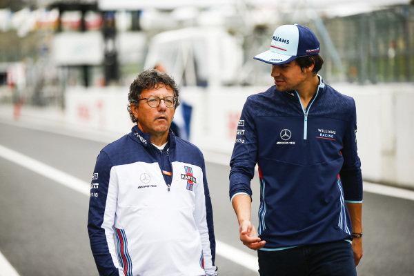 Luca Baldisserri, Engineer, Williams F1, with Lance Stroll, Williams Racing