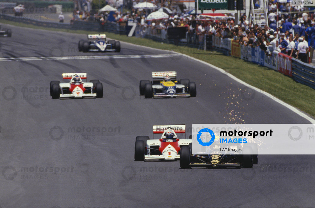 1985 Canadian Grand Prix.Montreal, Quebec, Canada.14-16 June 1985.Ayrton Senna (Lotus 97T Renault) leads Alain Prost (McLaren MP4/2B TAG Porsche).  Ref- A Race Through Time exhibition number 31.World Copyright - LAT Photographic