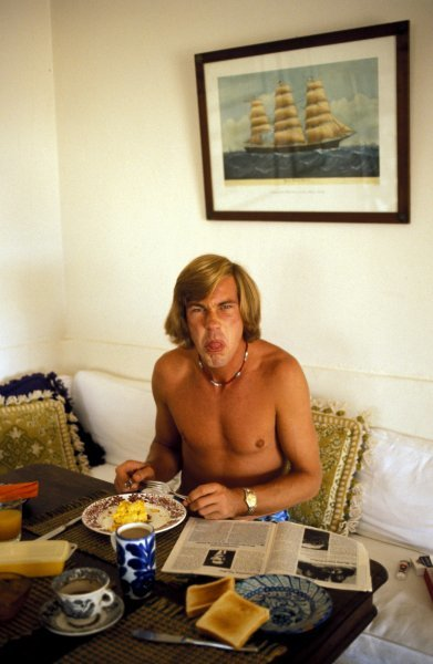 James Hunt (GBR) does not like interuptions whilst eating his breakfast! James Hunt Lifestyle, Circa 1976.
