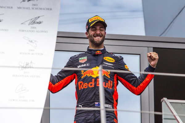 Daniel Ricciardo (AUS) Red Bull Racing celebrates on the podium at Formula One World Championship, Rd9, Austrian Grand Prix, Race, Spielberg, Austria, Sunday 9 July 2017.
