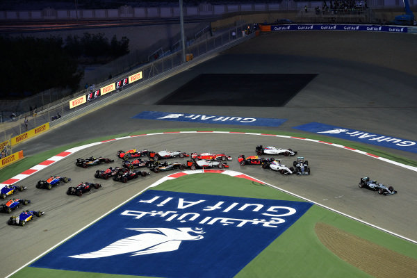 Nico Rosberg (GER) Mercedes-Benz F1 W07 Hybrid leads as Lewis Hamilton (GBR) Mercedes-Benz F1 W07 Hybrid and Valtteri Bottas (FIN) Williams FW38 collide at the start of the race at Formula One World Championship, Rd2, Bahrain Grand Prix Race, Bahrain International Circuit, Sakhir, Bahrain, Sunday 3 April 2016. BEST IMAGE