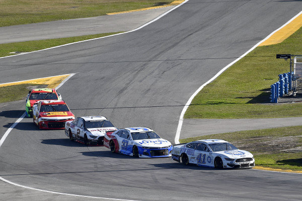 #41: Cole Custer, Stewart-Haas Racing, Ford Mustang Dixie Vodka, #37: Ryan Preece, JTG Daugherty Racing, Chevrolet Camaro Kroger/Coca-Cola, and #2: Brad Keselowski, Team Penske, Ford Mustang Discount Tire