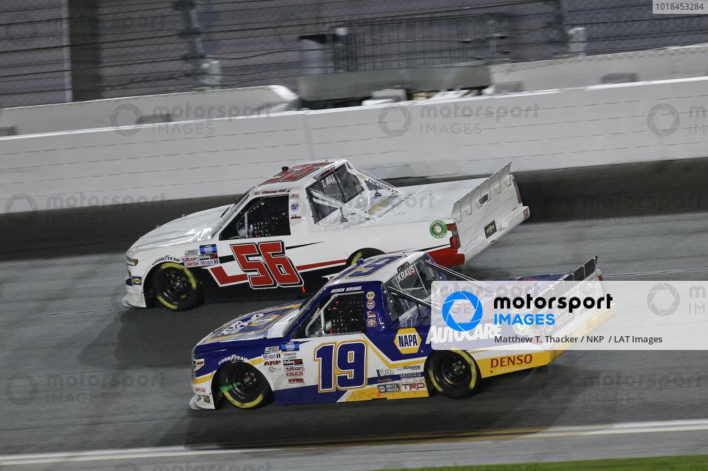 #56: Timmy Hill, Hill Motorsports, Chevrolet Silverado, #19: Derek Kraus, McAnally Hilgemann Racing, Toyota Tundra NAPA Auto Care