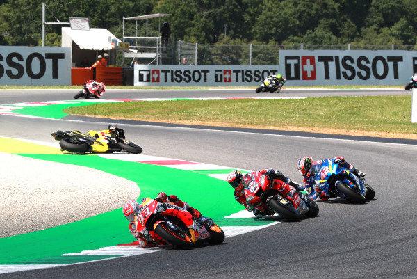 Jack Miller, Pramac Racing crashes behind Marc Marquez, Repsol Honda Team, Andrea Dovizioso, Ducati Team, Alex Rins, Team Suzuki MotoGP.