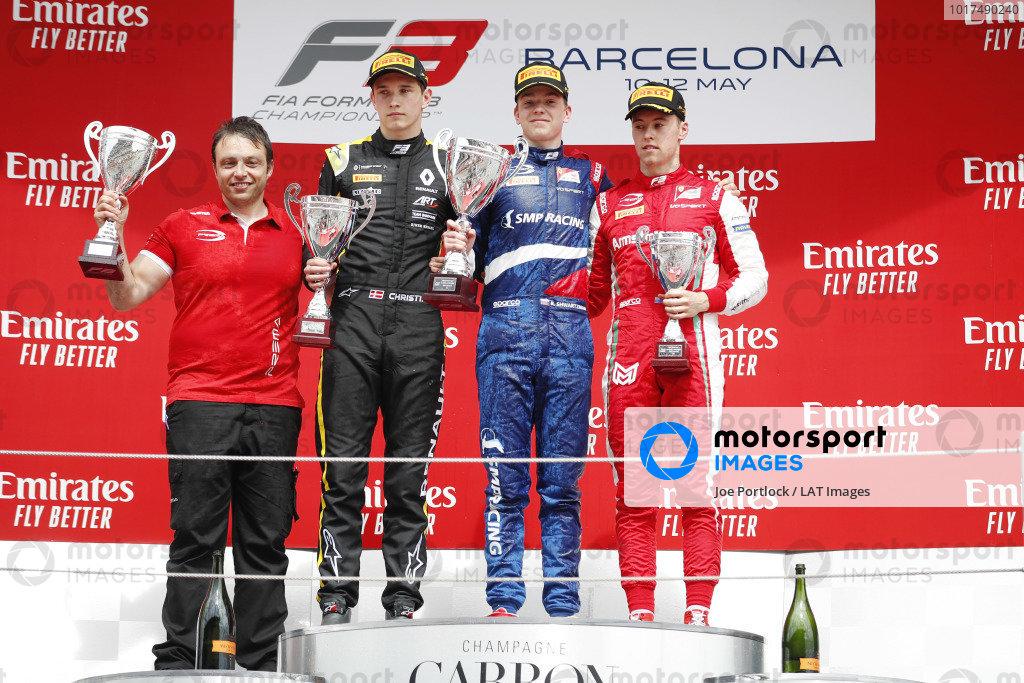 Robert Shwartzman (RUS) PREMA Racing, celebrates on the podium, with Christian Lundgaard (DNK) ART Grand Prix, and Marcus Armstrong (NZL) PREMA Racing
