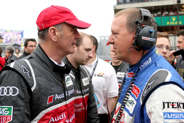 Dr Wolfgang Ullrich (GER) Audi Sport Team Manager, left, and John Steeghs (NED) Toyota Team Manager, right. Le Mans 24 Hours, Le Mans, France, 20-23 June 2013.
