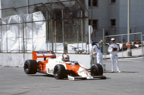 John Watson, McLaren MP4-1C Ford, gets his rear wheels off the ground.