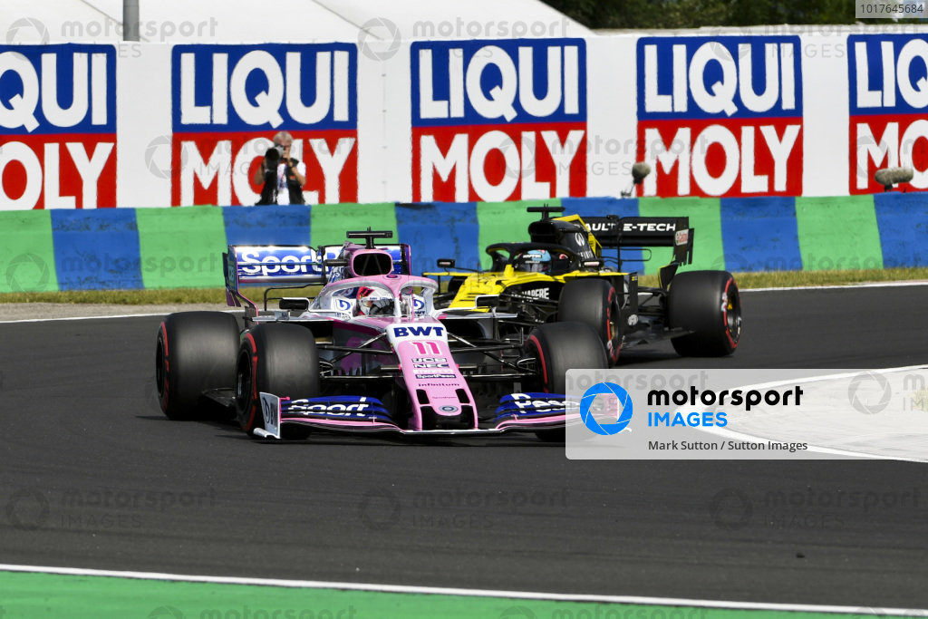 Sergio Perez, Racing Point RP19, leads Daniel Ricciardo, Renault R.S.19