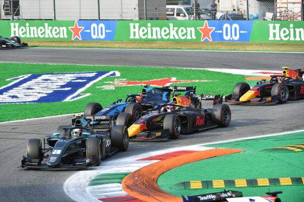 Alessio Deledda (ITA, HWA Racelab), leads Liam Lawson (NZL, Hitech Grand Prix), and Marcus Armstrong (NZL, DAMS)