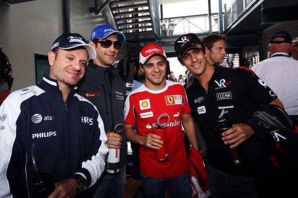 (L to R): Rubens Barrichello (BRA) Williams with Bruno Senna (BRA) Hispania Racing F1 Team (HRT); Felipe Massa (BRA) Ferrari and Lucas di Grassi (BRA) Virgin Racing. Formula One World Championship, Rd 2, Australian Grand Prix, Race Day, Albert Park, Melbourne, Australia, Sunday 28 March 2010.