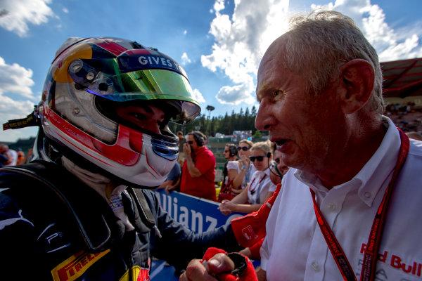 2016 GP2 Series Round 8.  Spa-Francorchamps, Spa, Belgium. Saturday 27 August 2016. Pierre Gasly (FRA, PREMA Racing) with Helmut Marko. Photo: Zak Mauger/GP2 Series Media Service. ref: Digital Image _L0U1085