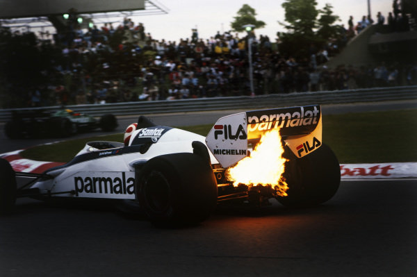 1983 Canadian Grand Prix  Montreal, Canada. 10-12 June 1983.  Exhaust flame from Nelson Piquet's Brabham BT52 BMW.  Ref: 83CAN28. World Copyright - LAT Photographic