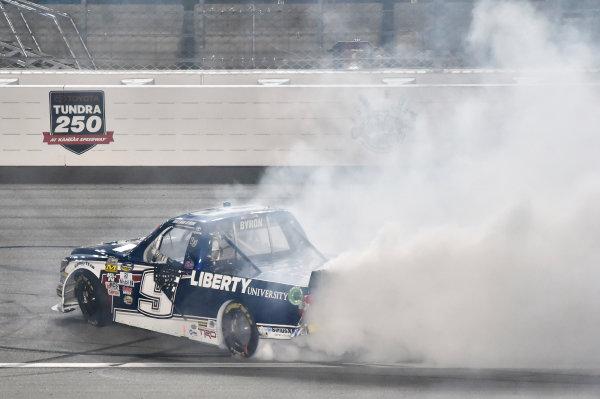 5-6 May, 2016, Kansas City, Kansas USA William Byron celebrates his win with a burnout ? 2016, Nigel Kinrade LAT Photo USA