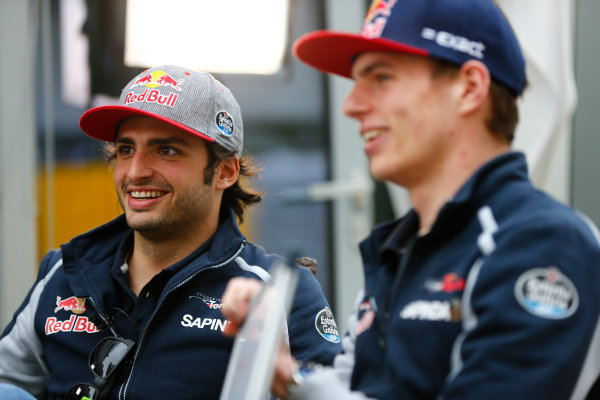 Sochi Autodrom, Sochi, Russia. Friday 29 April 2016. Carlos Sainz Jr, Toro Rosso, with Max Verstappen, Toro Rosso. World Copyright: Andy Hone/LAT Photographic ref: Digital Image _ONZ7325