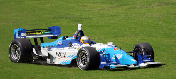 Mario Dominguez (MEX), Forsythe Championship Racing Lola Ford Cosworth, takes an off track excursion.