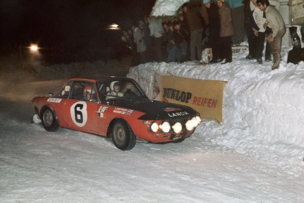 Monte Carlo, Monaco. 22nd - 29th January 1971.Simo Lampinen/John Davenport (Lancia Fulvia 1 6 CoupŽ HF), 6th position, action. World Copyright: LAT Photographic.Ref:  71MCRALLY08.