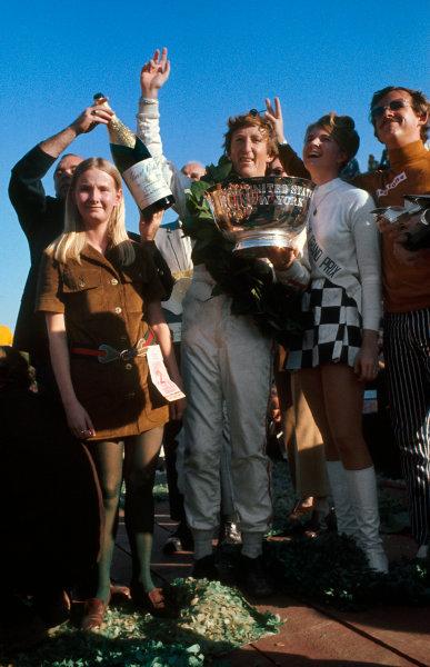 Watkins Glen, New York, USA.3-5 October 1969.Jochen Rindt (Lotus Ford) 1st position on the podium.Ref-69 USA 83.World Copyright - LAT Photographic