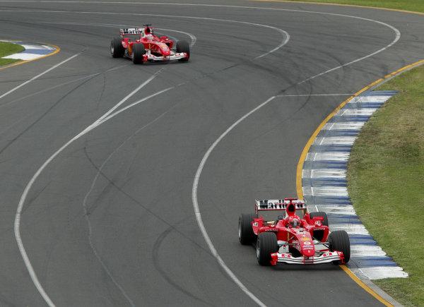 2004 Australian Grand Prix - Sunday Race, Albert Park, Melbourne. Australia. 7th March 2004 Michael Schumacher, Ferrari F2004 leads Rubens Barrichello, Ferrari F2004 , Action. World Copyright: Steve Etherington/LAT Photographic ref: Digital Image Only