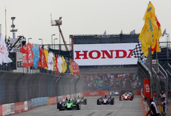 4-5 May, 2013, Sao Paulo, Brazil James Hinchcliffe takes the checkered flag and win © 2013, Michael L. Levitt LAT Photo USA