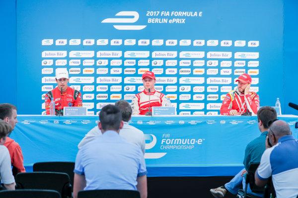 2016/2017 FIA Formula E Championship. Round 7 - Berlin ePrix, Tempelhof Airport, Berlin, Germany. Saturday 10 June 2017. Felix Rosenqvist (SWE), Mahindra Racing, Spark-Mahindra, Mahindra M3ELECTRO, Lucas Di Grassi (BRA), ABT Schaeffler Audi Sport, Spark-Abt Sportsline, ABT Schaeffler FE02, and Nick Heidfeld (GER), Mahindra Racing, Spark-Mahindra, Mahindra M3ELECTRO, in the press conference. Photo: Zak Mauger/LAT/Formula E ref: Digital Image _56I4383