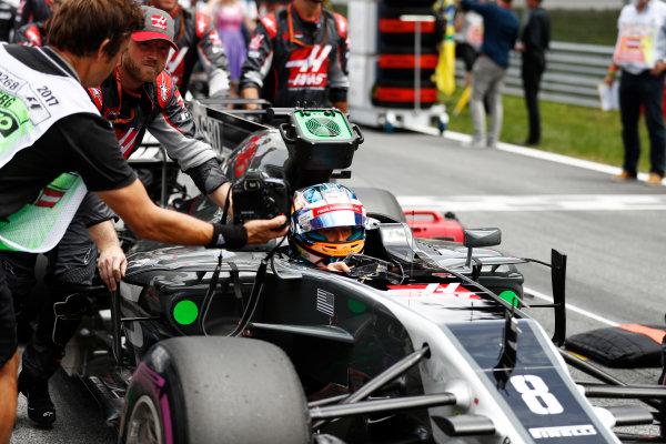 Red Bull Ring, Spielberg, Austria. Sunday 09 July 2017. Romain Grosjean, Haas F1, arrives on the grid. World Copyright: Glenn Dunbar/LAT Images ref: Digital Image _31I7570