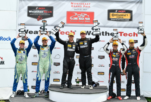 IMSA Continental Tire SportsCar Challenge Lime Rock Park 120 Lime Rock Park, Lakeville, CT USA Saturday 22 July 2017  27, Mazda, Mazda MX-5, ST, Britt Casey Jr, Matt Fassnacht, 25, Mazda, Mazda MX-5, ST, Chad McCumbee, Stevan McAleer, 84, BMW, BMW 328i, ST, James Clay, Tyler Cooke World Copyright: Richard Dole LAT Images ref: Digital Image RD_LRP_17_01183