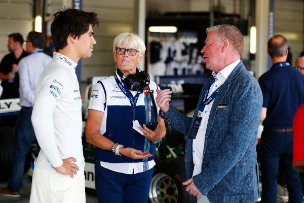 Williams 40 Event Silverstone, Northants, UK Friday 2 June 2017. Lance Stroll, Williams Martini Racing,talks to Anne Bradshaw and guest. World Copyright: Sam Bloxham/LAT Images ref: Digital Image _J6I6703