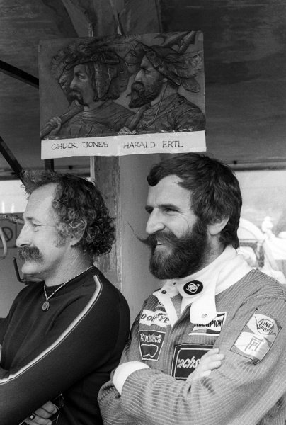 Harald Ertl (AUT) Ensign (Right), who crashed out of his final GP start on lap 7, with fellow owner of impressive facial hair Chuck Jones (USA) Ensign financial backer. Austrian Grand Prix, Rd 12, Osterreichring, Austria, 13 August 1978.