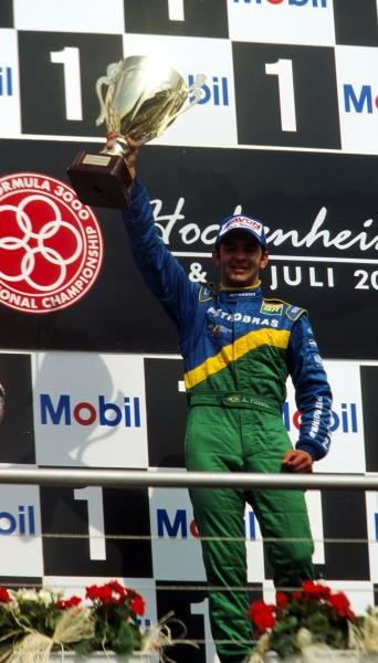 Antonio Pizzonia (BRA) Petrobras Junior Team celebrates his first F3000 victory on the podium.