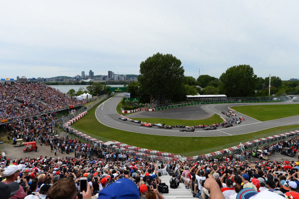 Lewis Hamilton (GBR) Mercedes AMG F1 W06 leads at the start of the race at Formula One World Championship, Rd7, Canadian Grand Prix, Race, Montreal, Canada, Sunday 7 June 2015.