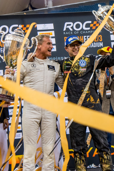 2018 Race Of Champions King Farhad Stadium, Riyadh, Abu Dhabi. Saturday 3 February 2018 Winner David Coulthard (GBR) and runner up Petter Solberg (NOR) celebrate on the podium. Copyright Free FOR EDITORIAL USE ONLY. Mandatory Credit: 'Race of Champions'