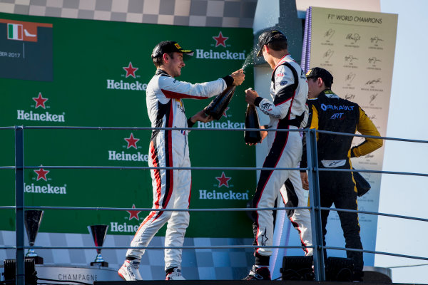 2017 GP3 Series Round 6.  Autodromo Nazionale di Monza, Monza, Italy. Sunday 3 September 2017. Jack Aitken (GBR, ART Grand Prix), George Russell (GBR, ART Grand Prix), Anthoine Hubert (FRA, ART Grand Prix).  Photo: Zak Mauger/GP3 Series Media Service. ref: Digital Image _56I8958