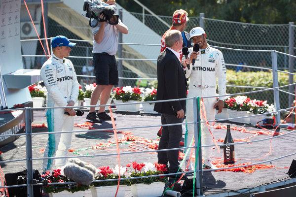 Autodromo Nazionale di Monza, Italy. Sunday 3 September 2017. Martin Brundle, Sky Sports F1, interviews Lewis Hamilton, Mercedes AMG, 1st Position, on the podium. World Copyright: Steve Etherington/LAT Images  ref: Digital Image SNE14660