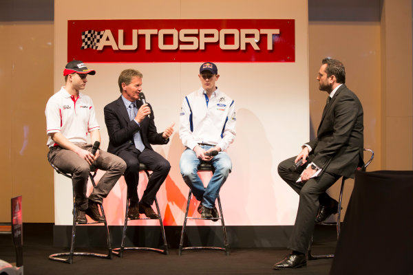 Autosport International Exhibition. National Exhibition Centre, Birmingham, UK. Thursday 8 January 2015. Malcolm Wilson, Elfyn Evans and Sander Pam on the Autosport stage. World Copyright: Malcolm Griffiths/LAT Photographic. ref: Digital Image A50A0442
