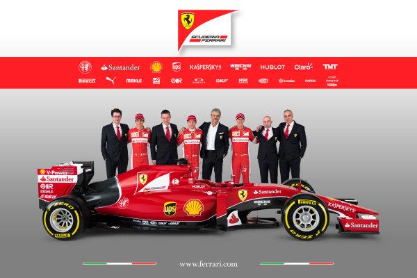 Ferrari SF-15T Reveal 30 January 2015 Esteban Gutierrez, Kimi Raikkonen and Sebastian Vettel with Technical Chief James Allison, Team Principal Maurizio Arrivabene and the new Ferrari SF-15T. Photo: Ferrari (Copyright Free FOR EDITORIAL USE ONLY) ref: Digital Image 150003eve