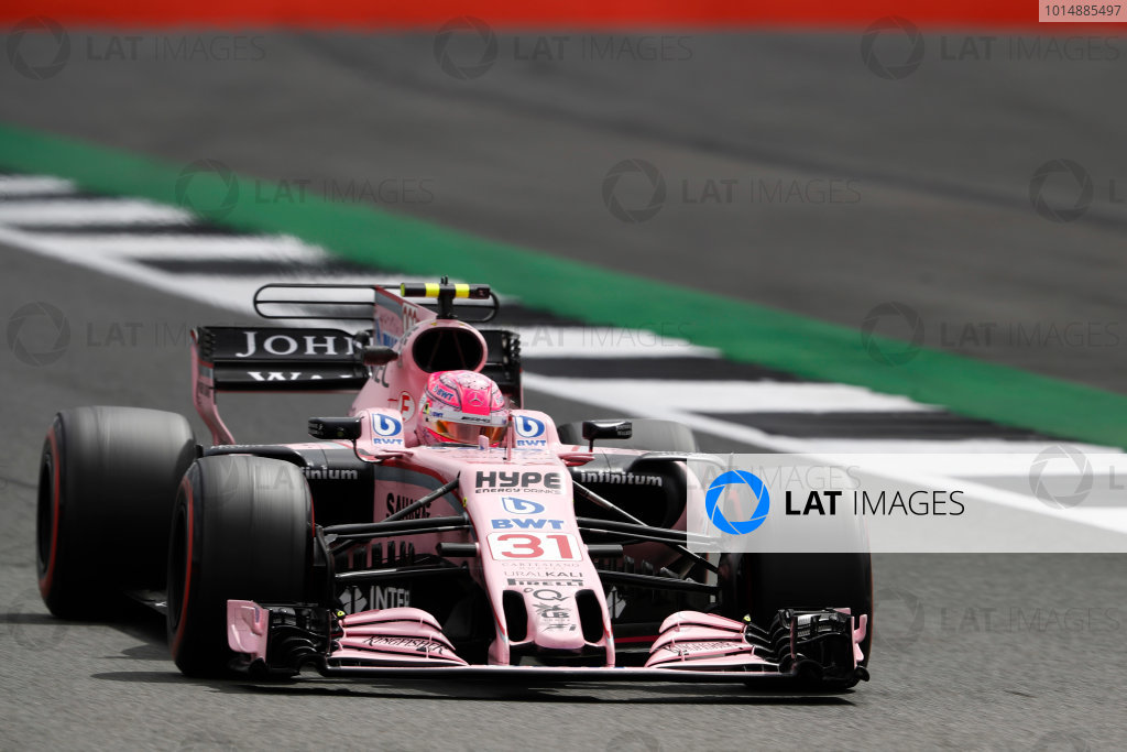 Silverstone, Northamptonshire, UK.  Friday 14 July 2017. Esteban Ocon, Force India VJM10 Mercedes.  World Copyright: Glenn Dunbar/LAT Images  ref: Digital Image _X4I3758