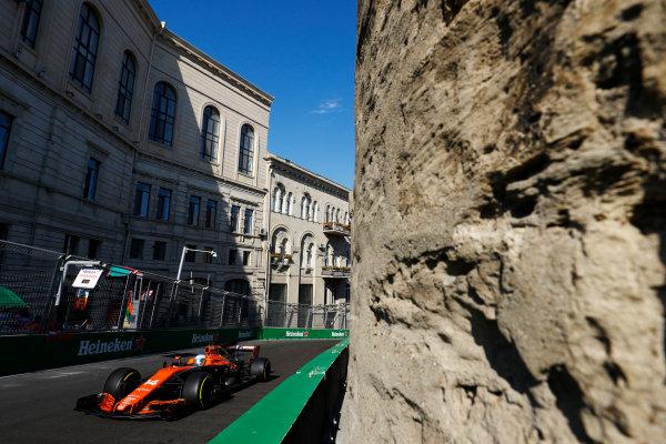 Baku City Circuit, Baku, Azerbaijan. Friday 23 June 2017. Fernando Alonso, McLaren MCL32 Honda.  World Copyright: Steven Tee/LAT Images ref: Digital Image _R3I2397