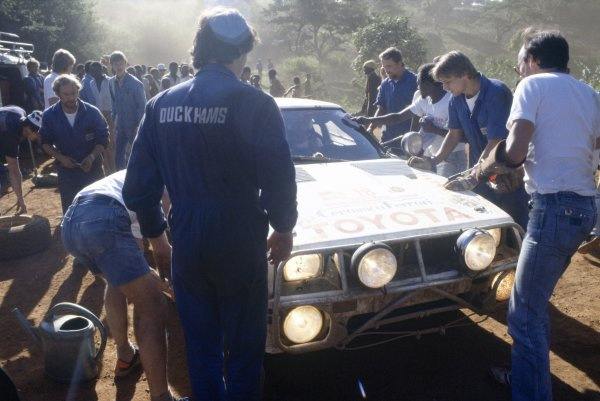 1984 World Rally Championship.Safari Rally, Kenya. 19-23 April 1984.Sandro Munari/Ian Street (Toyota Celica TCT), retired.World Copyright: LAT PhotographicRef: 35mm transparency 84RALLY12